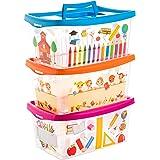 Centi Opbergdozen voor kinderen transparant met deksel en handgreep 4 liter 3 stuks gesorteerd