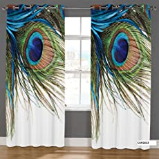 Bevi Digital Printed Curtain 7 feet   Polyester Knitting Printed Digital Morpankh Curtains   Curtains for Window & Door 1 Piece   Size 4 feet x 7 feet   Peacock Feather