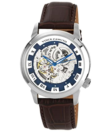 vince camuto men s automatic watch blue dial analogue display vince camuto men s automatic watch blue dial analogue display and brown leather strap vc 1007blsv amazon co uk watches