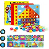 Fansteck Educational Mosaic Peg Boards Game for Kids From Ages 3+ ,Plug In Buttons Art Toys, Learning Jigsaw Puzzle Toy of Building Block Sets with Mushroom Nails ,Ideal for 3 4 Years Old Children