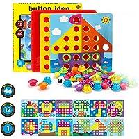 Fansteck Jeux de Mosaïque Loisir Créatif Puzzle en Différents Motifs avec Les Boutton Colorés Jeux Educatif pour Enfants…