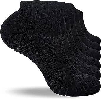 PULIOU Ankle Running Socks, Trainer Socks for Men Women Cushioned Anti Blister Sports Socks Athletic Cotton Mens Socks Low Cut Walking Black Socks 6 Pairs