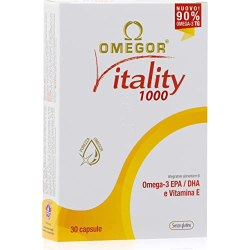 Omega 3 OMEGOR® Vitality 1000-90% di Omega-3 TG! Certificato IFOS dal 2006. 800mg EPA e DHA per capsula in rapporto 2:1. Struttura min. 90% Trigliceridi e distillazione molecolare | 30 cps da 1000