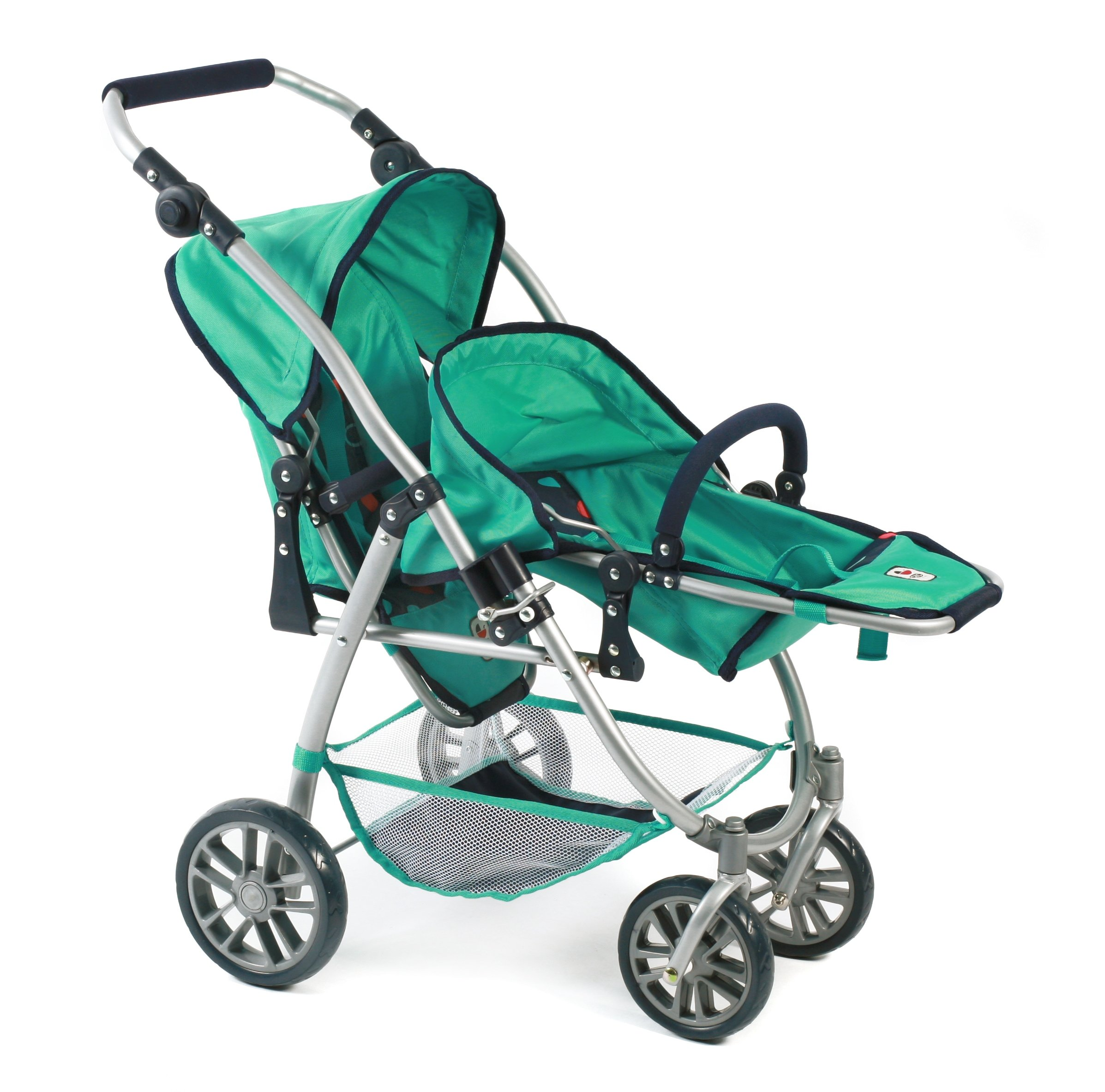 Bayer Chic 2000 689 21 Doll pram, Mint Bayer Chic Modern twin pushchairs with two removable and to be in a lying position adjustable Sport seating The seat of your Twin trolley are detachable and can be in multiple directions he tandem Buggy has a height-adjustable slider from 55 - 33 cm 4