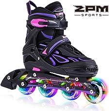 2pm Sports Vinal Violett Größe verstellbar Inline Skates für Mädchen und Damen, LED-Räder Leuchten Nachts auf