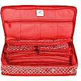 HomeStrap Cotton Multipurpose 8 Pocket Jewellery Storage Bag Pouch/Travel Kit Organizer - Red
