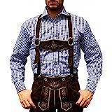 Trachtenhemd de pantalones de cuero traje Oktoberfest Trachtenmode Azul / karo