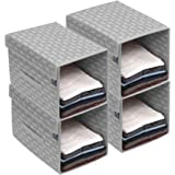 HomeStrap Printed Stackable Shirt Organizer with Cover Lid- Grey Pack of 4
