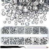 Jovitec 2000 Stück Hot Fix Glas Flache Rückseite Strasssteine HotFix Runde Kristall Edelsteine 1,5-6 mm (SS4-SS30) in Aufbewahrungsbox mit Pinzette und Pflücken Strass Pen (Klar)