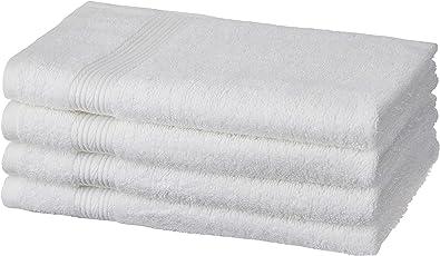 Amazon Brand - Solimo 100% Cotton 4 Piece Hand Towel Set, 500 GSM (White)