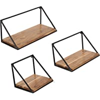 Craftarea Wooden Wall Mount Iron Storage/Outdoor/Garden Shelf (Acacia Wood, Natural Finish, Set of 3)