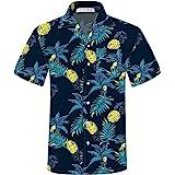 ELETOP Mens Hawaiian Shirt Short Sleeve Funky Shirt Casual Flower Aloha Shirt Holiday Beach Party Shirts