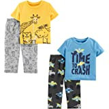 Simple Joys by Carter's Conjunto de Pijama de 4 Piezas Superior de poliéster de Manga Corta y Parte Inferior de Forro Polar N