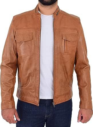 Mens Leather Casual Biker Jacket Zip Fastening Style Jaime Tan