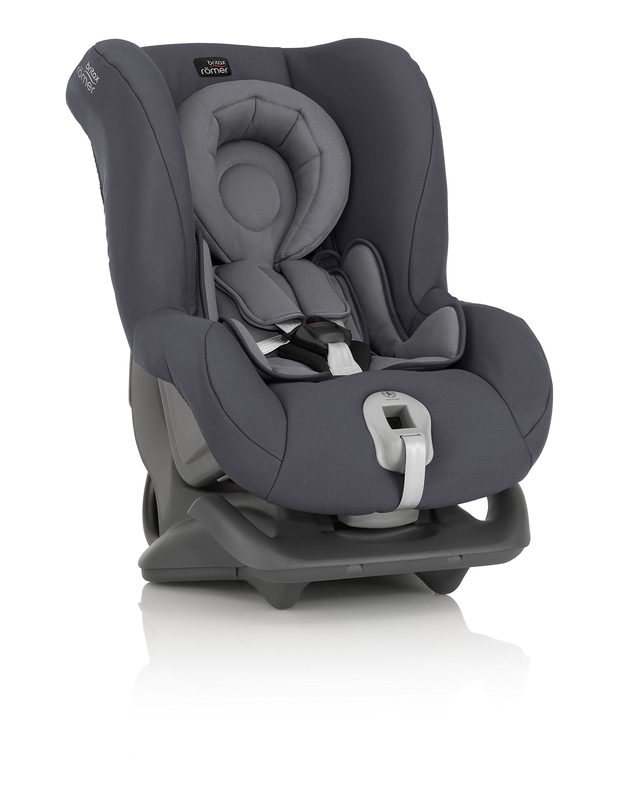 Britax Römer FIRST CLASS PLUS Group 0+/1 (Birth-18kg) Car Seat - Storm Grey  Extended recline position when rearward facing - the safest way to travel Reassurance built-in - Click and safe harness tensioning confirmation High quality protection - side impact protection Plus performance chest pads and pitch control system 4