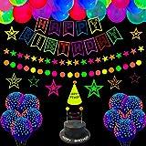 53 stuks Glow Neon Verjaardagsfeestartikelen - Neon Ballonnen, Glow in the Dark Happy Birthday Banner met UV Zwart Licht Reac