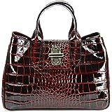 Bellissimo BELLI Echt Leder Handtasche italienische Damen Ledertasche Umhängetasche Henkeltasche in Glattleder, Kroko oder St