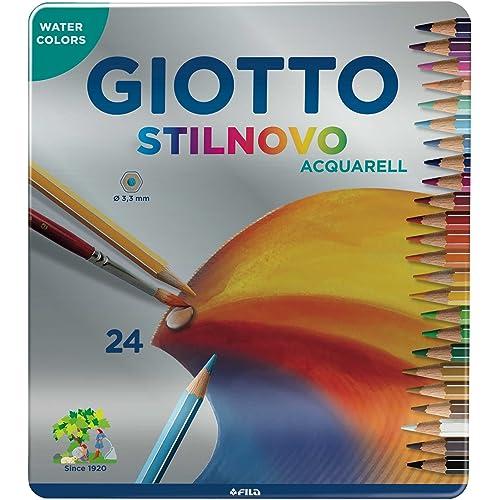 Giotto 256300 - Stilnovo Acquarell Pastelli Acquarellabili Scatola Metallo da 24 Colori