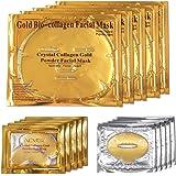 ALIVER 24k Gold Bio-collagen Facial Mask + Gold Powder Eye Mask+ Gold Lip Mask (5sets/package)