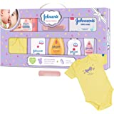 Johnson's Baby Care Collection Baby Gift Set with Organic Cotton Baby Dress (8 Pieces)