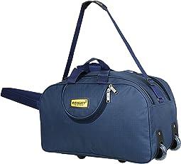 alfisha Unisex Polyester Lightweight Waterproof Luggage Travel Duffel Bag with Roller Wheels (Navy Blue, AFB-DUF-011)