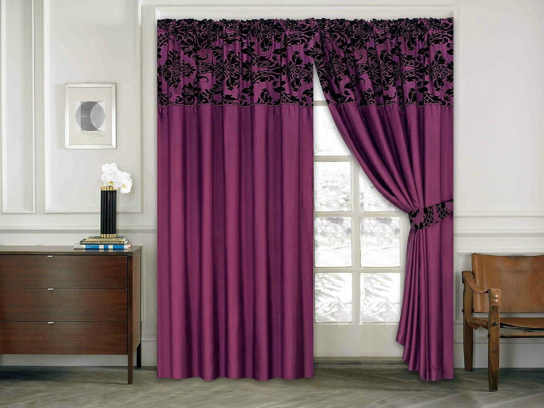 gardinen wohnzimmer schwarz : Amazon De Roman Vorhang Ornament Barock Lila Schwarz Gardinen Mit