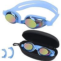 BEZZEE PRO Enfants Lunettes de Natation - UV Protection Lentilles de Couleur Revêtues de Miroir avec Cas de Rangement et…
