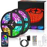 LETION 10 m LED-ränder, LED Strip 10 m 300 LEDs RGB SMD 5050 färgväxling med 44 knappar fjärrkontroll, IP65 vattentät 12 V pr