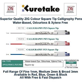 Zig Kuretake Blue Medium (2mm) Calligraphy Pen Square Nib Tip Italic