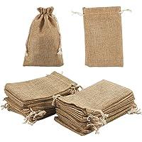 Sacchetti con coulisse – 24 sacchetti regalo in iuta per gioielli, caramelle, matrimoni, artigianato e fai da te, baby…