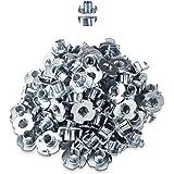 LIKERAINY 4 Delige T-moeren M4 x 8mm Metalen T Moer Meubels Schroefdraad Inzetstukken voor Houtbewerking Klimmen Houdt Meubel