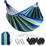 Anyoo Outdoor Cotton Fabric Hammock, Comfortable Portable Camping Hammock with Tree Straps and Carrying Bag, Perfect for…