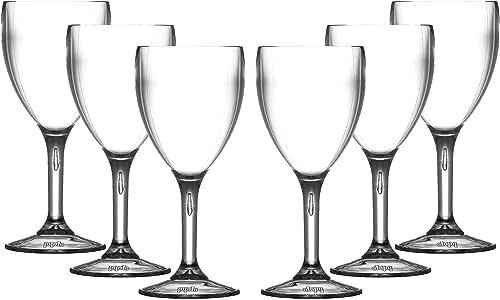 6 PETITS verres à vin Roltex Polycarbonate incassable et rèutilisables (200ml7oz à ras bord Hauter 14.90cm Diamètre Max 6.7cm)