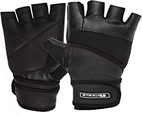 Strauss Leather Gym Gloves with Wrist Wrap (Medium)