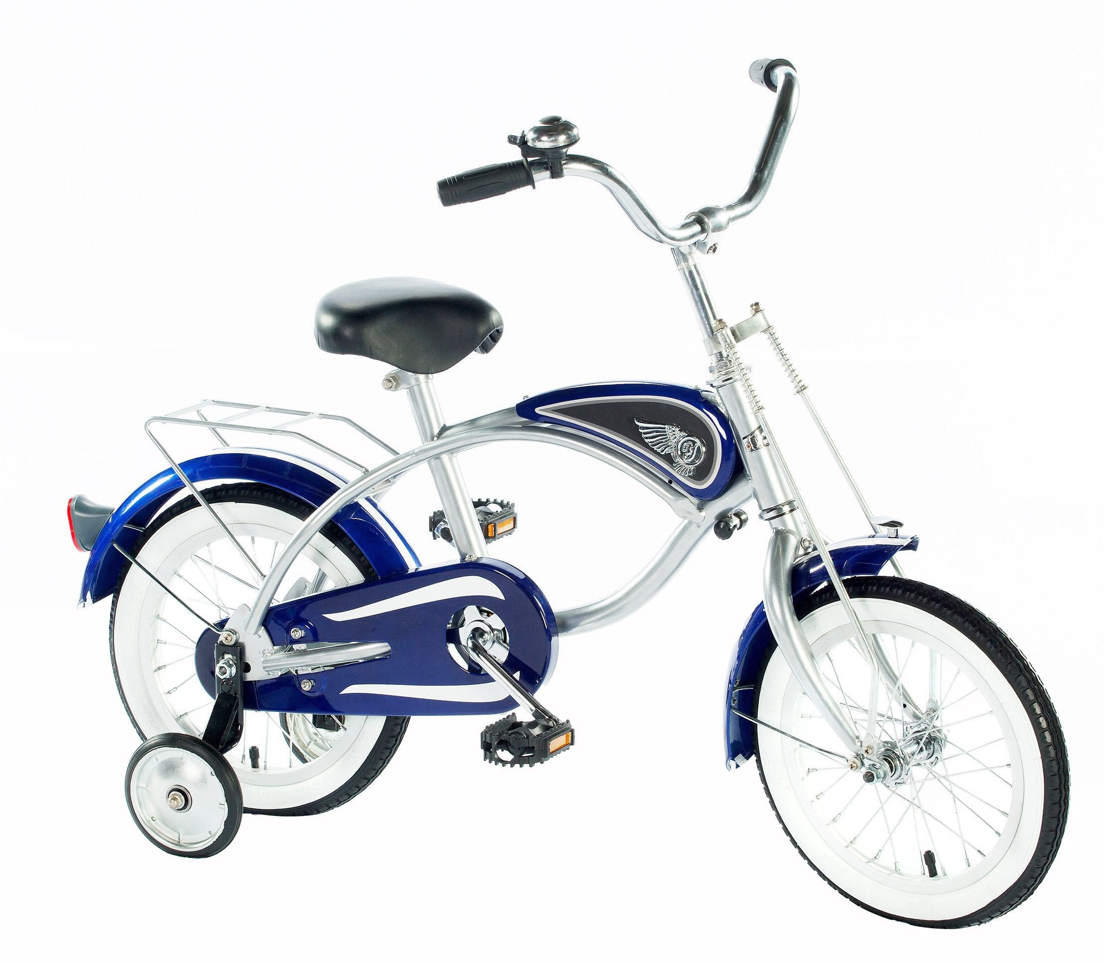 14 Cruiser Bicycle With Training Wheels Blue Toddler Bike Retro