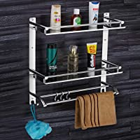 Plantex Elegant-Plus High Grade Stainless Steel Multipurpose 3-Tier Bathroom Shelf with Towel Holder/Towel Hooks…