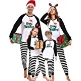iClosam Pijamas Rayas Navidad Familia Conjunto,Pijama Algodón Ropa para Dormir Navideños Suave y Comodo para Hombre Mujer niñ