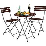 Relaxdays Gartenmöbel Set Holz 3-teilig, Klappbar, Klapptisch rund, 2 Klappstühle, Sitzgruppe, Balkongarnitur, rot-braun
