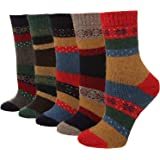 Hanmorlla 5 Paare Socken Damen Bunt Winter Dick Wollsocken Set Bunte Socken Manner Thermosocken