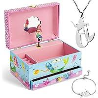 Jewelkeeper - Carillon portagioielli con Sirena e set di gioielli per bambine - 3 regali a tema sirena per ragazze