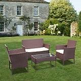 bigzzia Rattan Garden Furniture Set, 4 piece Patio Rattan furniture sofa Weaving Wicker includes 2 Armchairs,1 Double…