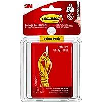 3M Command Plastic 2 Hooks and 4 Medium Strips (White, Pack of 3)