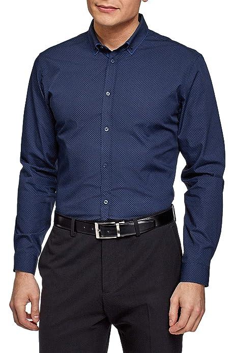 oodji Ultra Hombre Camisa Básica Entallada, Azul, 37: Amazon.es: Ropa y accesorios
