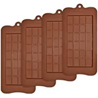 homEdge Lot de 4 moules à tablette de chocolat anti-adhésifs en silicone de qualité alimentaire pour barres protéinées…