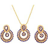 Touchstone New Indian Bollywood Elite Mughal Kundan Look Chand Baali Moon Bridal Designer Jewelry Pendant Set for Women in Go