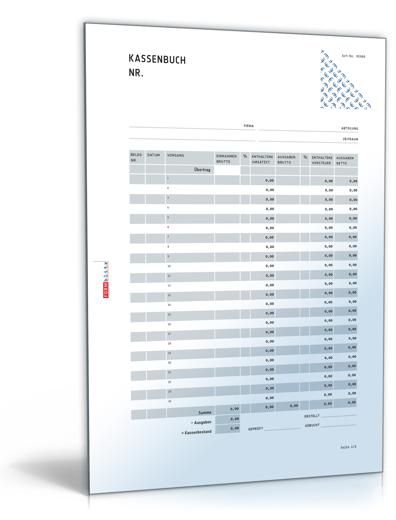 Kassenbuch im Hochformat [PDF Download] [Download]