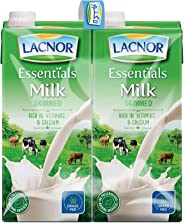 Lacnor Liquid Essentials Milk Skimmed - 1 Liter x 4(Pack of 4)