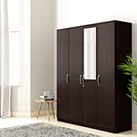 Amazon Brand - Solimo Medusa Engineered Wood Wardrobe With Mirror wenge finish , 4 Doors
