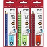 Faber-Castell 182414 - Bleistift-Set Grip 2001, 2 Bleistifte und 1 Radierer, sortiert