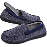 MERRIMAC Men's Fleece Knit Moccasin Slippers Breathable House Shoes with Removable Insole
